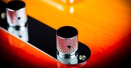 Macro Close up of a electric guitar volume knob 版權商用圖片