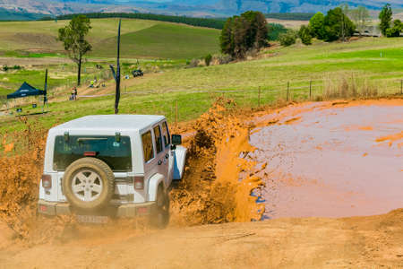 Harrismith, South Africa - October 02 2015: 4x4 Mud Driver Training at Camp Jeep in the Drakensberg Redakční