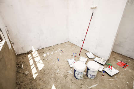 Soweto, South Africa - September 10, 2011: Interior rooms while building and painting a small low cost house in Soweto
