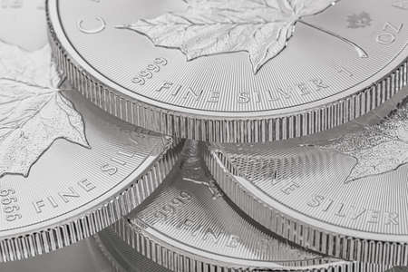 Close-up image of a 9999 Silver Canadian Maple Leaf Bullion Coin Stock Photo