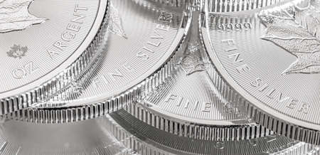 Close-up image of a 9999 Silver Canadian Maple Leaf Bullion Coin