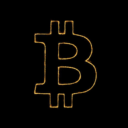 Burning Flame Effect on Crypto Currency Icon against a black background