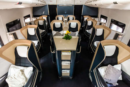 Interior view of Empty Airplane seats on board a luxury jet liner
