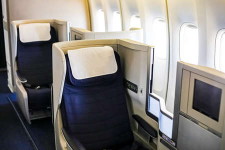Interior view of Empty Airplane seats on board a luxury jet liner 免版税图像