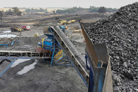 Open Pit Coal Mining and processing in South Africa. Washing and storage