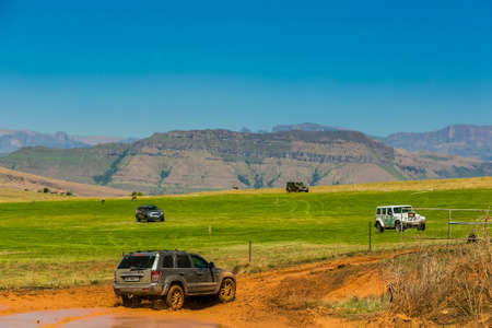Harrismith, South Africa - October 02 2015: 4x4 Mud Driver Training at Camp Jeep in the Drakensberg