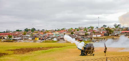 Ermelo, South Africa - September 24 2011: Artillery Cannon Guns on display at local Township