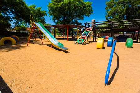 Newcastle, South Africa - February 12 2015: Empty Colorful Preschool Playground