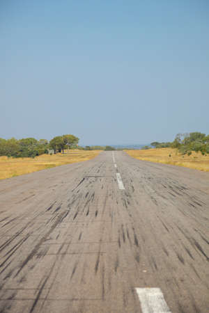 Small bush airport and runway on a private game reserve in South Africa. Safari landing strip