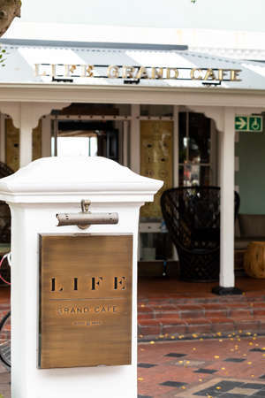 Cape Town, South Africa - December 14, 2020: Exterior view of Life Grand Cafe restaurant at the VA Waterfront Editorial