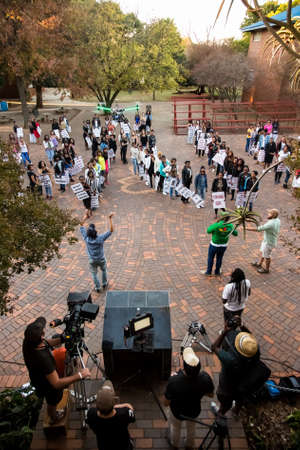 Johannesburg, South Africa - April 30, 2015: Behind the Scenes on location on set of music video production using a large drone for filming