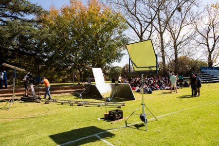 Johannesburg, South Africa - April 30, 2015: Behind the Scenes on location on set of music video production Editorial
