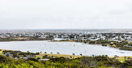Panoramic Elevated view of Sandvlei lake in Muizenberg, False Bay Cape Town, South Africa