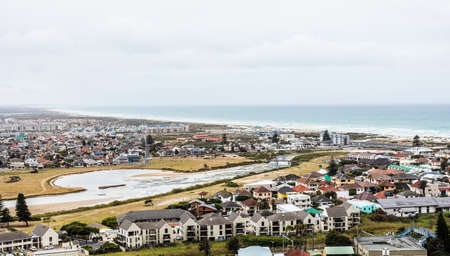 Panoramic Elevated view of Muizenberg beach in False Bay Cape Town South Africa
