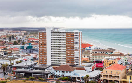 Cape Town, South Africa - March 10, 2021: Elevated view of Muizenberg in False Bay, South Africa