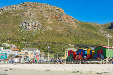 Cape Town, South Africa - March 23, 2021: Surfers Corner beach in small coastal town of Muizenberg