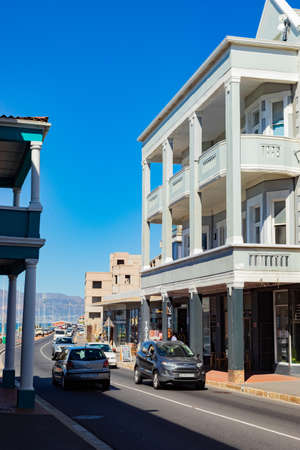 Cape Town, South Africa - March 23, 2021: Quiet high-street of small coastal town of Muizenberg Editorial