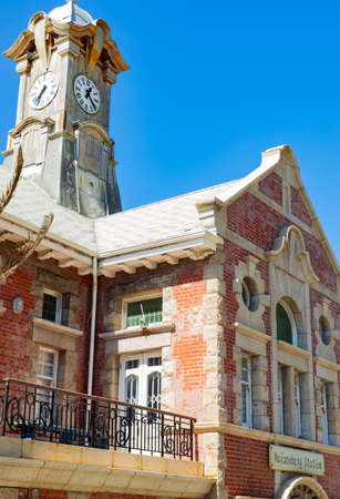 Cape Town, South Africa - March 23, 2021: Historic colonial Train Station building in small coastal town of Muizenberg