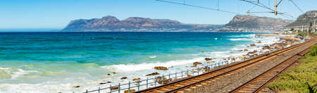 Cape Town, South Africa - March 23, 2021: Panoramic view of tide pool in small coastal town of St James