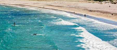 Cape Town, South Africa - March 17, 2021: Elevated view of Hout Bay beach on a quiet day Editorial