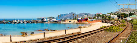 Cape Town, South Africa - March 23, 2021: Panoramic view of Kalk Bay Harbour in False Bay, South Africa Editorial