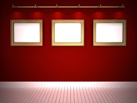 Three golden frames in red gallery Stock Photo - 12025947