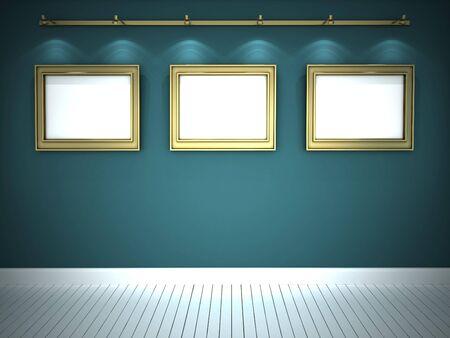 Three golden frames in blue gallery photo