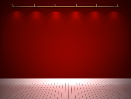 Illuminated red wall and white floor photo