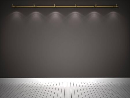 backround: Illuminated grey wall and white floor