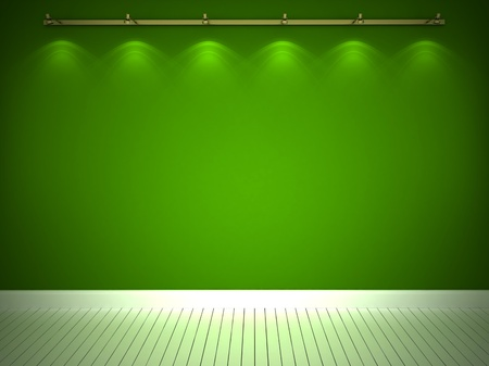 backround: Illuminated green wall and white floor