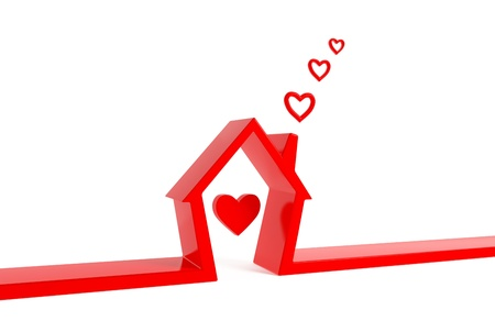 building home structure: 3d render of house with heart-clouds  isolated on white