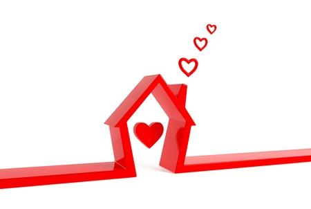 Render 3d di casa con il cuore-nuvole isolato su bianco