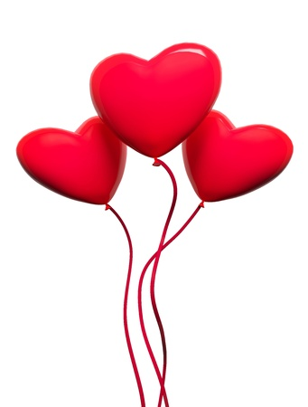 Three red hearts-balloons, isolated on white photo