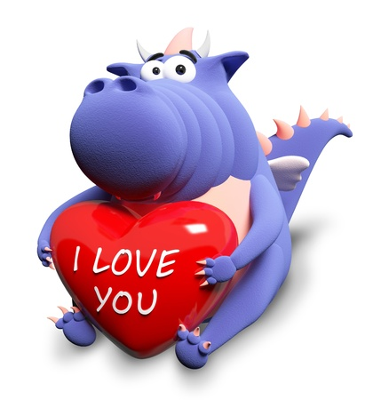 cartoon dinosaur: Blue dragon and big red heart with text I love you, isolated on white Stock Photo