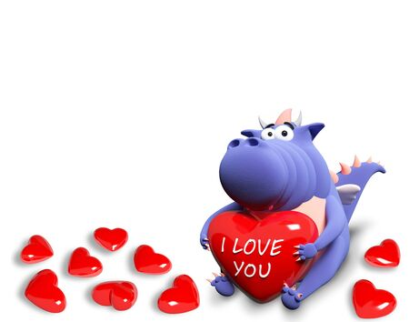 backround: Blue dragon and many red hearts, isolated on white backround