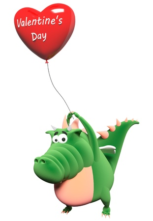 Green dragon and big red heart-balloon with text  photo