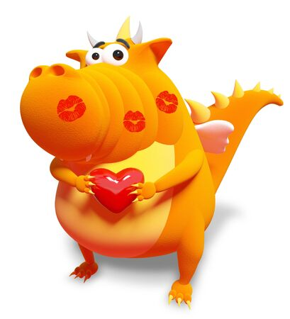 Orange dragon with red heart and kisses, isolated on white photo