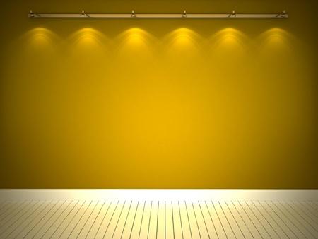 Illuminated yellow wall and white floor Stock Photo - 12203711