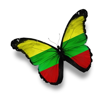 lithuanian: Lithuanian flag butterfly, isolated on white