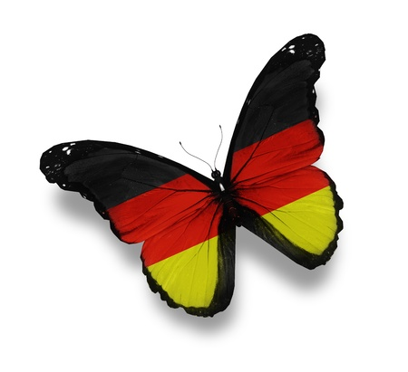 mariposas volando: Mariposa bandera alemana, aislado en blanco