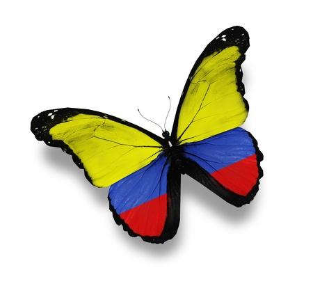 la bandera de colombia: Mariposa bandera de Colombia, aislado en blanco Foto de archivo
