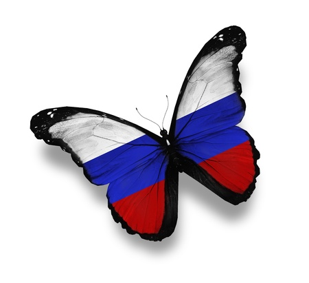 russia: Russian flag butterfly, isolated on white