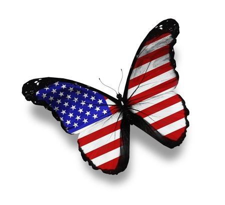 banderas americanas: La bandera americana de la mariposa, aislado en blanco Foto de archivo