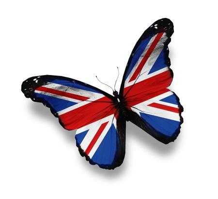 naciones unidas: Ingl�s bandera mariposa, aislado en blanco Foto de archivo