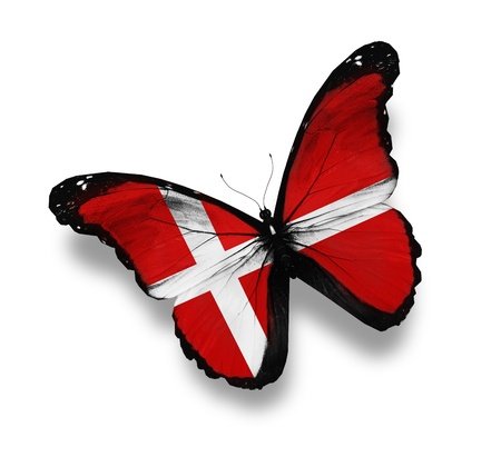 danish: Danish flag butterfly, isolated on white