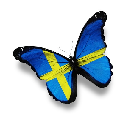 sweden flag: Swedish flag butterfly, isolated on white Stock Photo