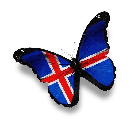 icelandic flag: Islandia bandera de mariposa, aislado en blanco