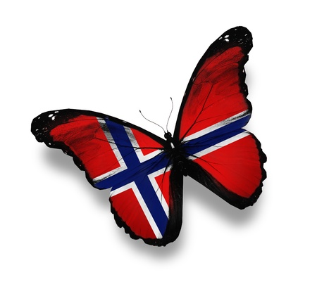 black and blue butterfly flying: Norwegian flag butterfly, isolated on white