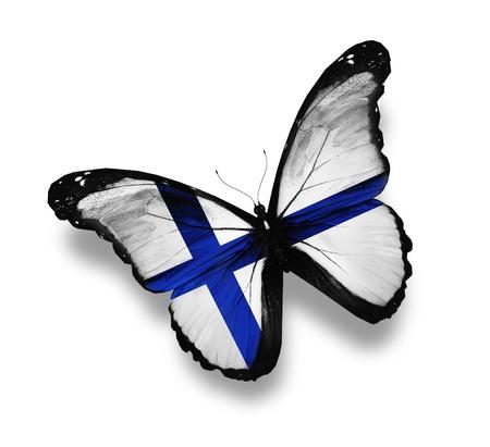 finland�s: Mariposa bandera de Finlandia, aislado en blanco Foto de archivo
