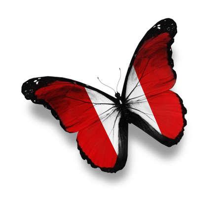 bandera peru: Mariposa bandera peruana, aislado en blanco
